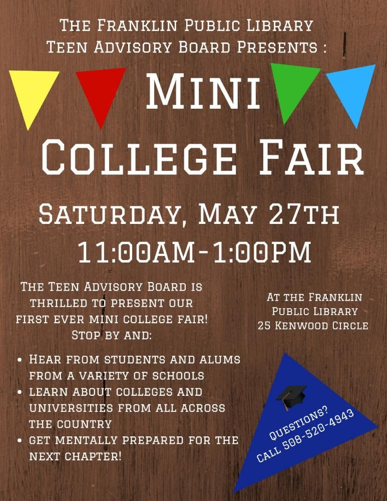 Mini College Fair Coming to Franklin Public Library - May 27