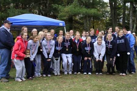 Girls team Recieving medals at last year's Hockocmock League Championships Photo from ma.milesplit.com