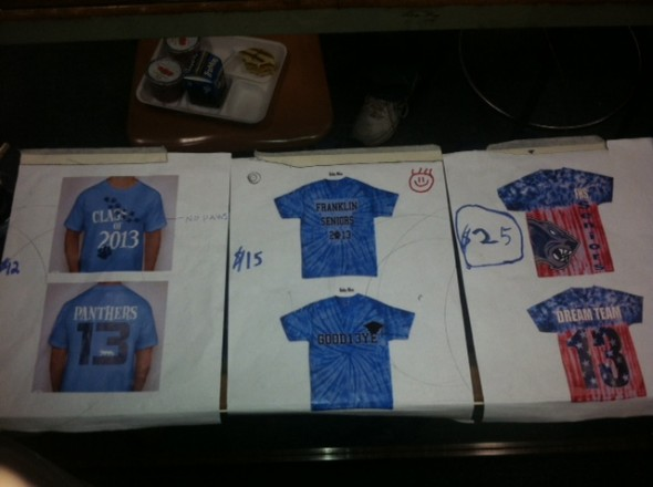 The shirts from left to right are #1, #2 and #3.