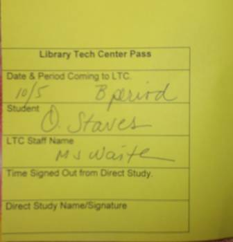 Here is one of the library passes you need to get to be able to go into the tech center.