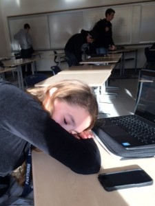 Senior Maria Levie dozes off on top of her chromebook.