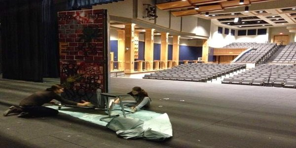Students working on the set of 'Rebel Without a Cause'