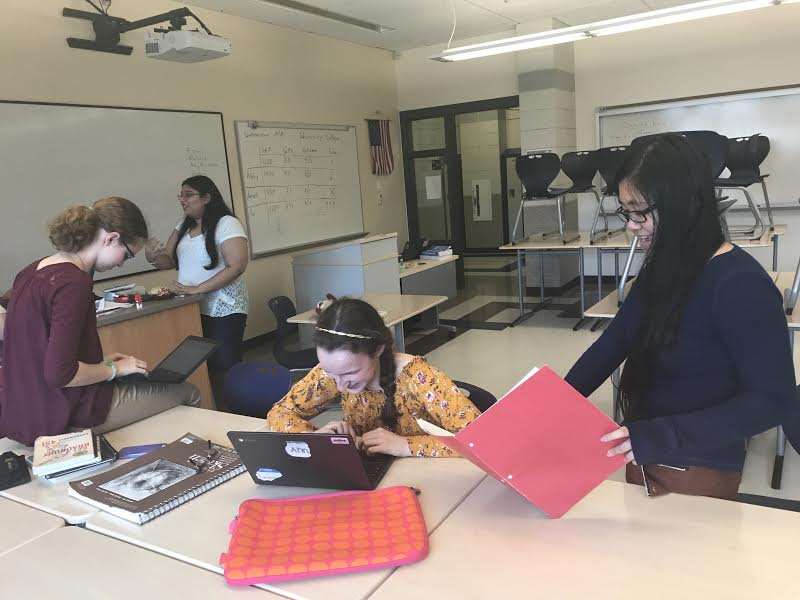 From left to right: Elizabeth Ball, Anna Eppihimer, and Jess Khuc are pictured at writing club.