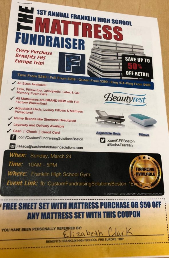 FHS Goes to Europe: Mattress Fundraiser (Pantherbook photo)