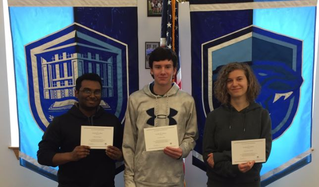 Sidhartha, Gerard, and Alexandra, on receiving National Merit Scholars certificate of Merit. This puts them in an elite group of scholars across the country.  FHS Administration