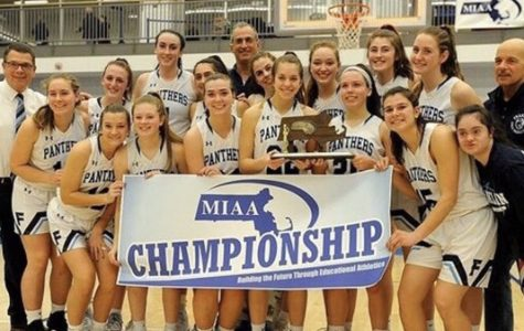 The girls varsity basketball team being named Division 1 Central Champions. (photo from @fhsgvbasketball Twitter)