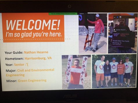 Welcome Screen at the Clemson University Virtual Tour in October