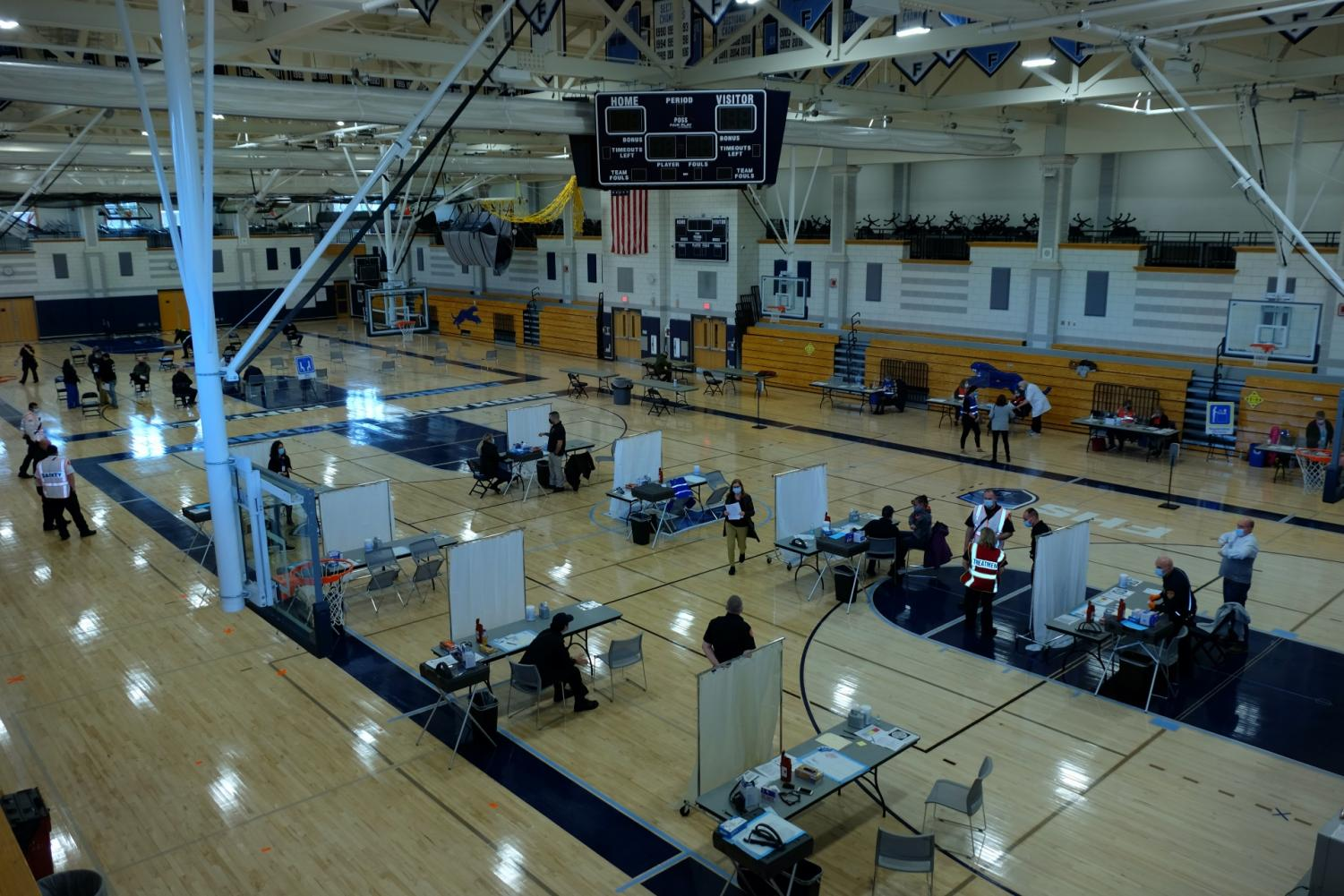 A view of the Franklin High School gym during Wednesday's COVID vaccinations.  Siddharth Chandra