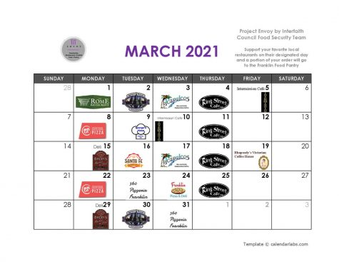 March Calendar - Project Envoy. Source: https://twitter.com/FranklinFoodPan?s=20