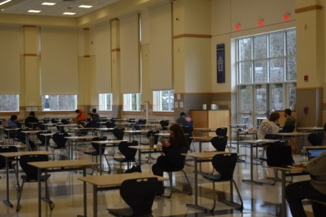 The lunchroom at FHS, including appropriately-spaced desks for eating safely.