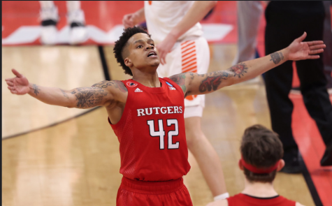 Jacob Young and His Rutgers Teammates celebrate a little March Madness