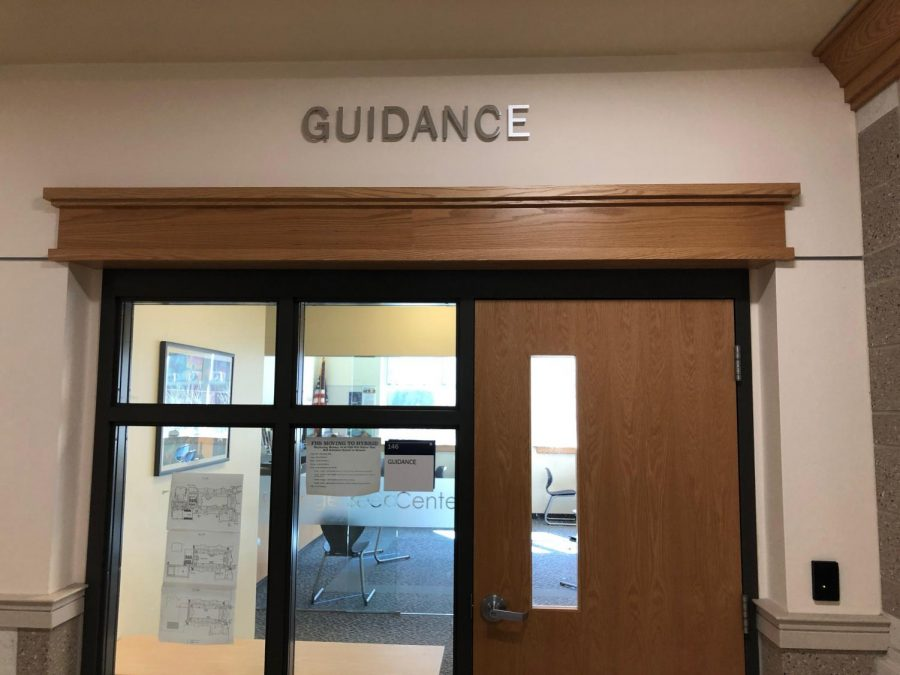 Franklin High Schools Guidance Office doors with sign.