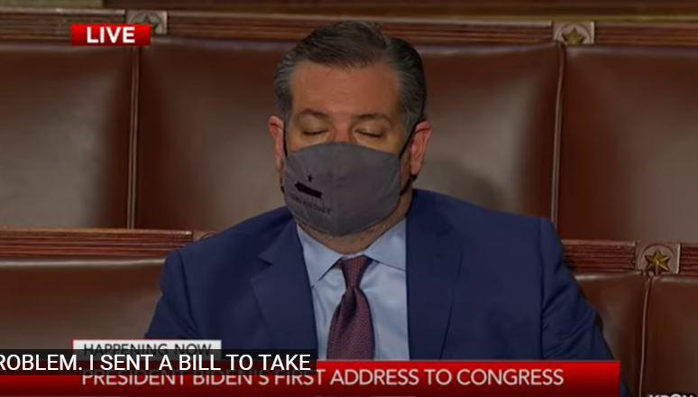 Senator Cruz struggled to stay awake during President Biden