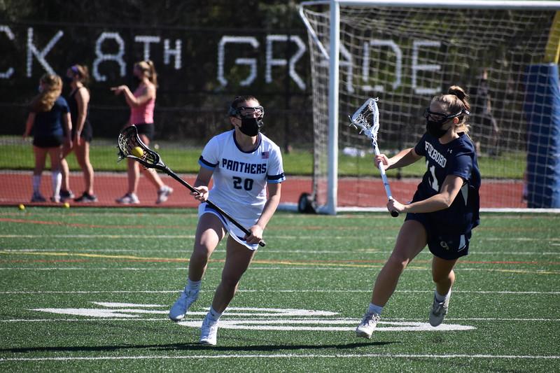 Sydney Hawkins in the Franklin Girls Varsity Lacrosse game against Foxboro